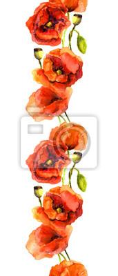 Jednolite fringe ramki z czerwonych kwiatów maku. Akwarela malowane zespół