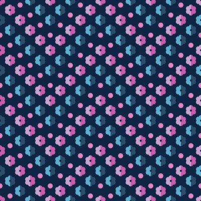 Naklejka Jednolite kolorowe tło wektor z ozdobnymi kwiatami i groszki