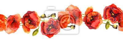 Jednolite kwiatowy banner naszywka z jasnych kwiatów maku. Rysunek Akwarela ręcznie malowane
