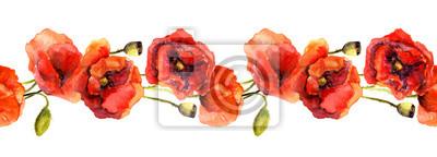 Naklejka Jednolite kwiatowy obrzeża ramki z kolorowych kwiatów maku. Akwarela malowana grafika