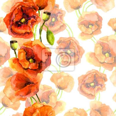 Jednolite kwiatowy Swatch - pastelowe tło z jasnym czerwonym paskiem obrzeży. Poppy wzór kwiaty. Rysunek Akwarela malowane