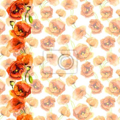 Jednolite kwiatowy szablon zniknął z jasnym obramowania ramki - czerwonych kwiatów maku. rysunek akwarela malowane
