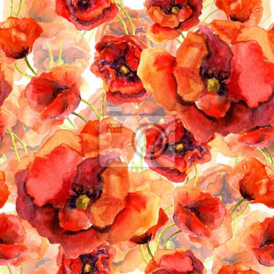 Jednolite kwiatowy tapety z kolorowych maków. akwarela