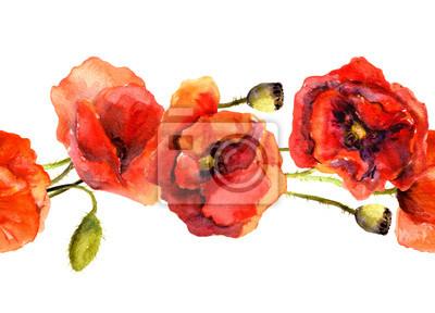 Jednolite kwiatowy taśmy granicy z czerwonych kwiatów maku. Akwarela malowane sztuki