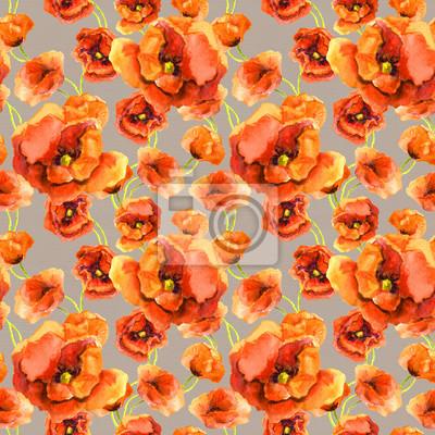 Jednolite kwiatowy tło z czerwonych kwiatów maku na szarym tle. Akwarela malowana konstrukcja