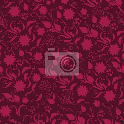 Naklejka Jednolite kwiatowy wzór ręcznie rysowane w stylu vintage