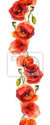 Jednolite kwiatowy wzór retro - pionowy pasek ramki z rocznika czerwonych kwiatów maku. Rysunek Akwarela ręcznie malowane