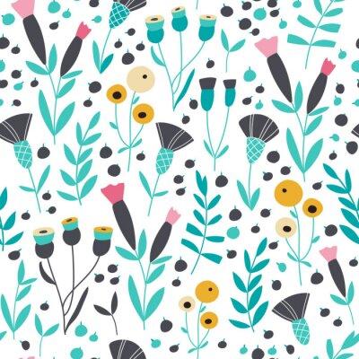 Naklejka Jednolite kwiatowy wzór skandynawskich jasne