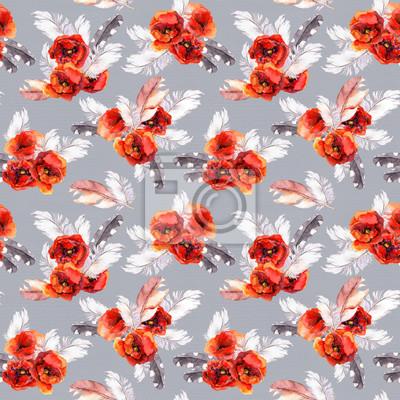 Jednolite kwiatowy wzór z kwiatów akwarelą i piór. Akwarela