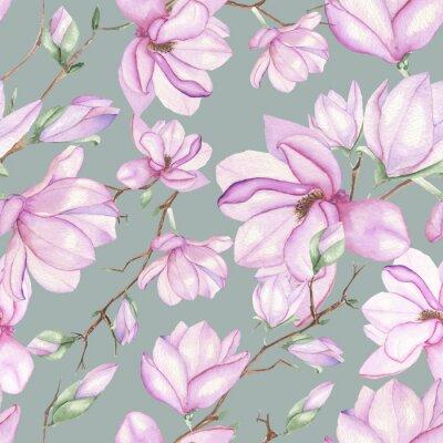 Naklejka Jednolite kwiatowy wzór z magnoliami malowane akwarelami na szarym tle