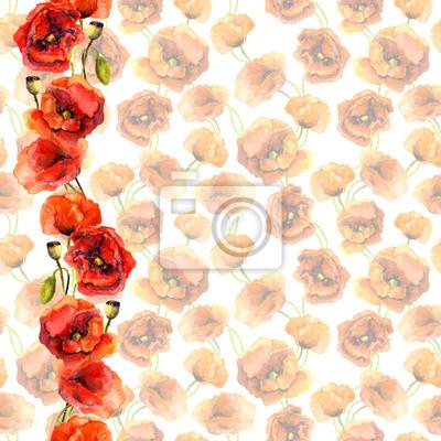 Jednolite pastelowych kwiatów tle z jasnym obramowaniem. Czerwone kwiaty maku. Akwarela malowane sztuki