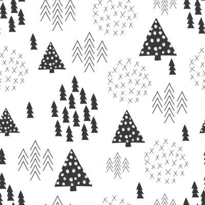 Naklejka Jednolite stylu skandynawskim prosta ilustracja choinki w tle
