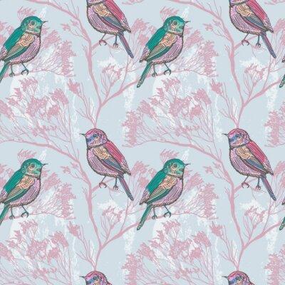 Naklejka Jednolite tło naturalne z ptakami