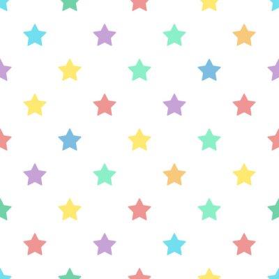 Naklejka Jednolite tło wzór kolorowe gwiazdki