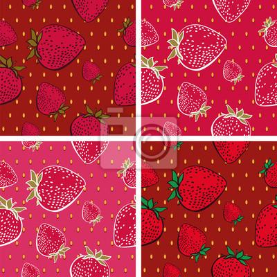 Jednolite tło z Bright Strawberry Wzór (4 w zestawie)