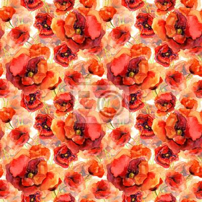 Jednolite tło z życiem czerwony kwiat maku. Akwarele sztuki