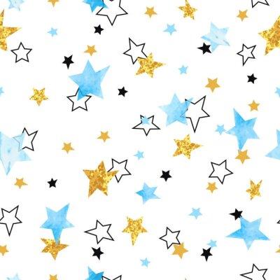Naklejka Jednolite wzór gwiazdek. Wektor tła z akwarelą niebieski i błyszczące złote gwiazdy.