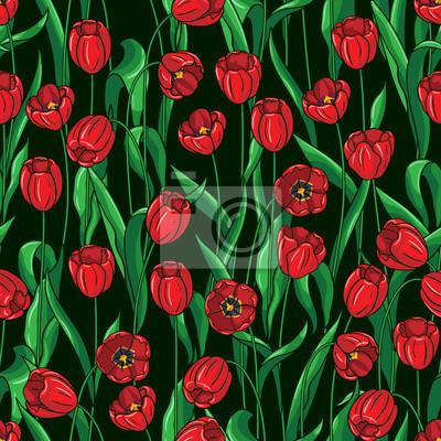 Jednolite wzór na czarno tulipany