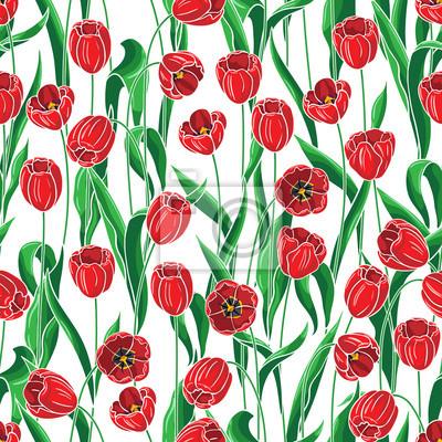 Jednolite wzór z czerwonych tulipanów