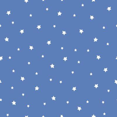 Naklejka Jednolite wzór z gwiazd na niebieskim tle. Nocne niebo charakter ilustracji. Cute baby shower tła.