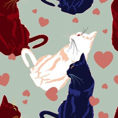 Naklejka Jednolite wzór z kolorowych kotów