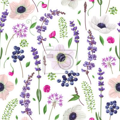 Jednolite wzór z kwiatów i jagód.