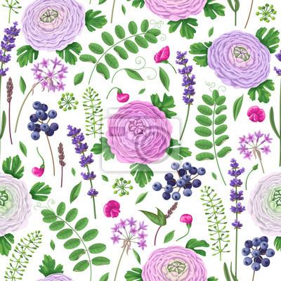 Jednolite wzór z kwiatów jaskier, liści i owoców.