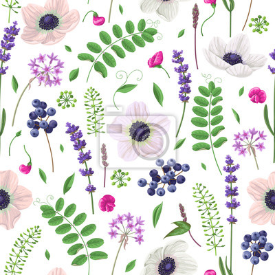 Jednolite wzór z kwiatów, liści i owoców.