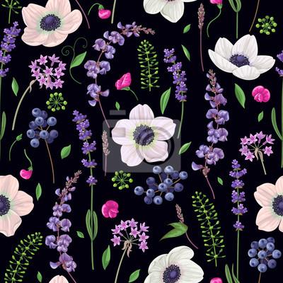 Jednolite wzór z kwiatów na czarnym tle
