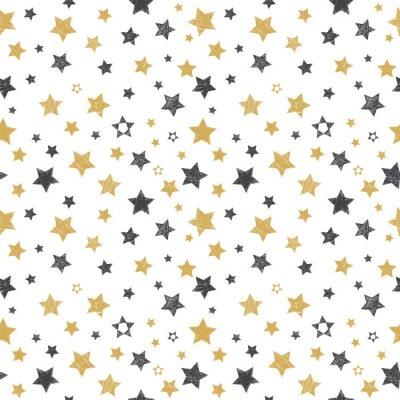 Naklejka Jednolite wzór z ręcznie rysowane gwiazd. stylowe tło