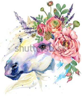 Naklejka jednorożec. ilustracja bukiet kwiatów akwarela. tło fantasy. biały koń.