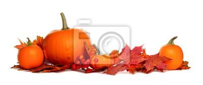 Naklejka Jesienią granicy dynie i czerwone liście spadek samodzielnie na białym tle