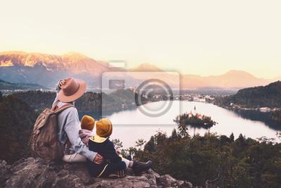 Naklejka Journey Slovenia with kids. Family travel Europe. View on Bled Lake