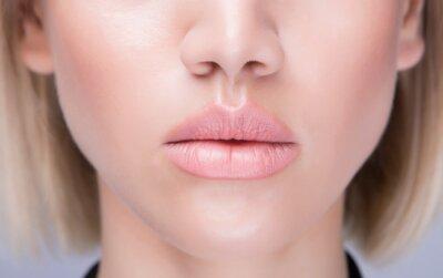 Naklejka Juicy close up lips. Caucasian model. Horizontal shot.