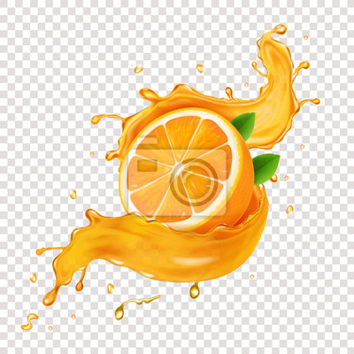 Naklejka Juicy orange fruit in realistic orange juice splash