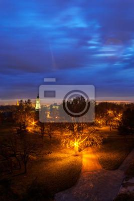 Kalemegdan parku w nocy, Belgrad, Serbia
