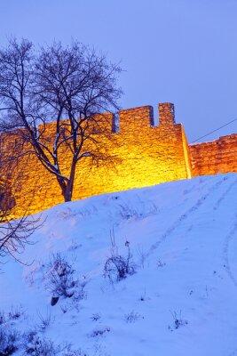 Kalemegdan twierdzy w Belgradzie i parku ze śniegiem