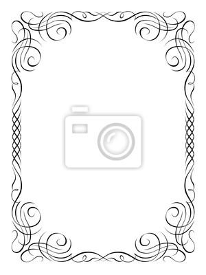 naklejka kaligrafia ozdobna ozdobne ramki na wymiar czarny transparent sztuka. Black Bedroom Furniture Sets. Home Design Ideas