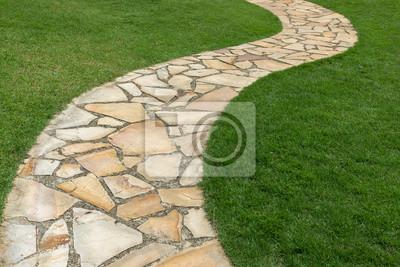 Naklejka Kamienna ścieżka na zielonej trawie w ogródzie