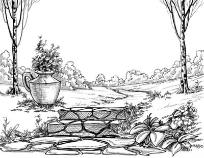 Naklejka Kamienne Schody W Parku Rysunek Ołówkiem Na Wymiar Sztuka