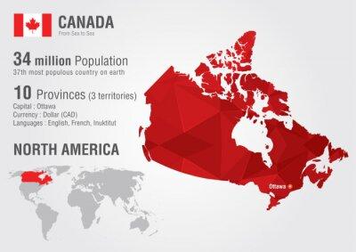 Naklejka Kanada mapa świata z pikseli diamentu tekstur.