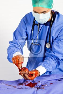 Naklejka Kardiochirurg zajęty pracy