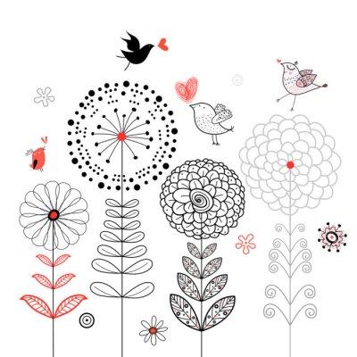 Naklejka Karta kwiat z ptaków
