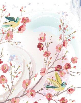 Naklejka Karta wiosna z ptakami śpiewa na gałęzi drzewa kwitnących