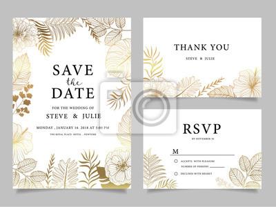Naklejka Karta zaproszenie na wesele z kwiatem Szablony