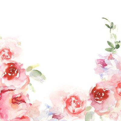Naklejka Karta zaproszenie z akwarelą kwiatów. Kwiatowe ręcznie malowane karty