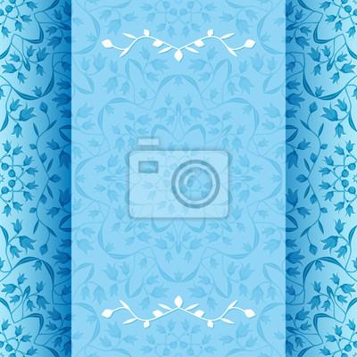 Naklejka Karta zaproszenie z niebieskimi kwiatami - ilustracji wektorowych