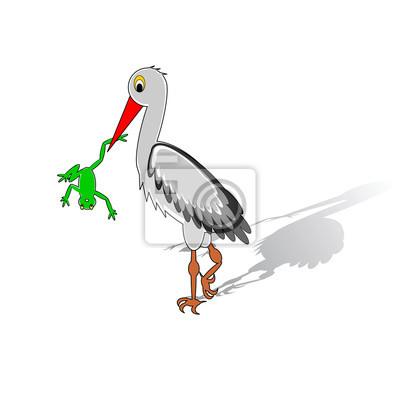 Naklejka Karykatura bocian trzyma w dziobie żabę