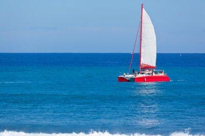 Naklejka katamaran rouge en mer