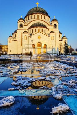 Katedra Saint Sava w zachodzie słońca, Belgrad, Serbia